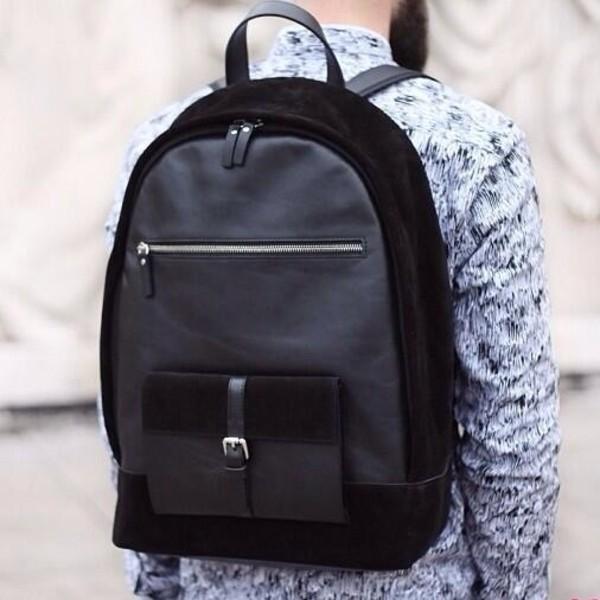 Bag: black, backpack, leather backpack, school bag, classy ...