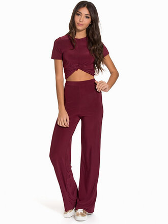 jumpsuit red wine red co ords set two-piece t-shirt crop tops pants