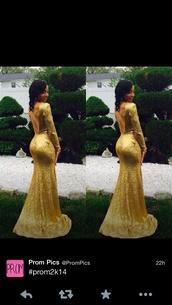 dress,gold,long prom dress,long sleeve dress,sparkly dress,sequin dress
