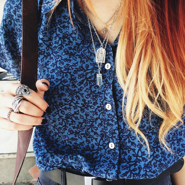 jewels cristal necklace shirt blue shirt blue style fashion chic