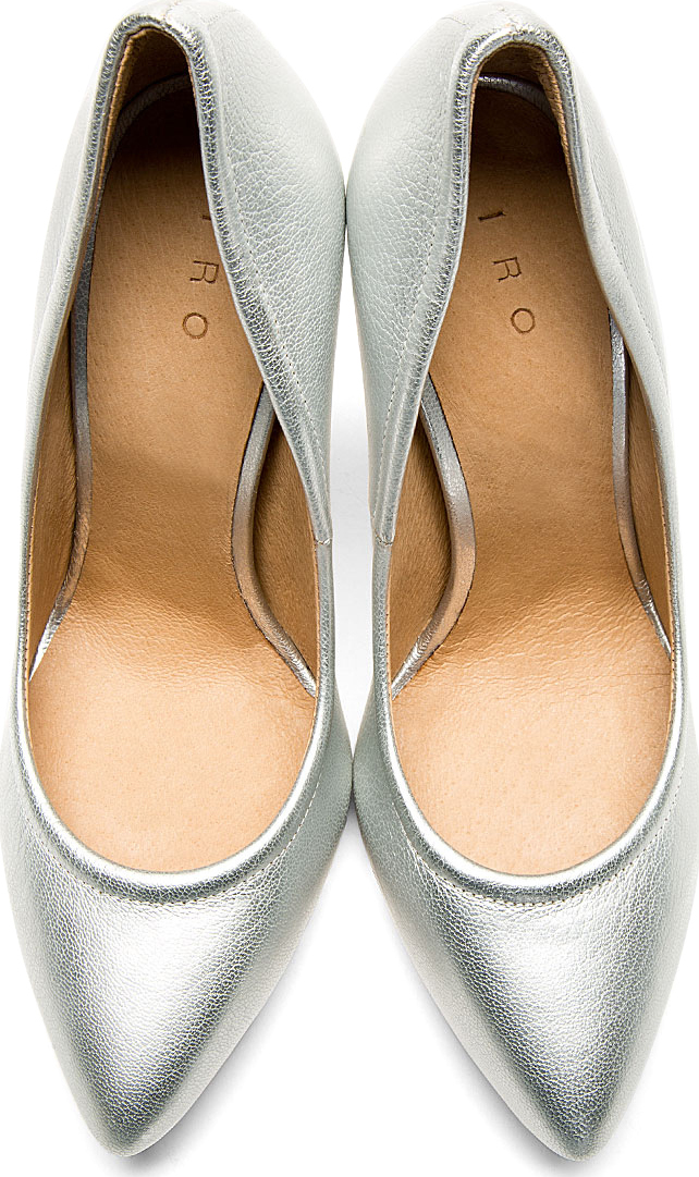 Iro - Silver Leather Pointed Pumps | SSENSE
