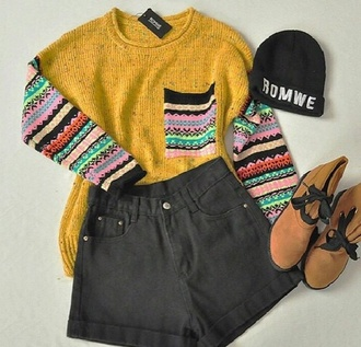 sweater off yellow jumper with zig zag patterned sleeves
