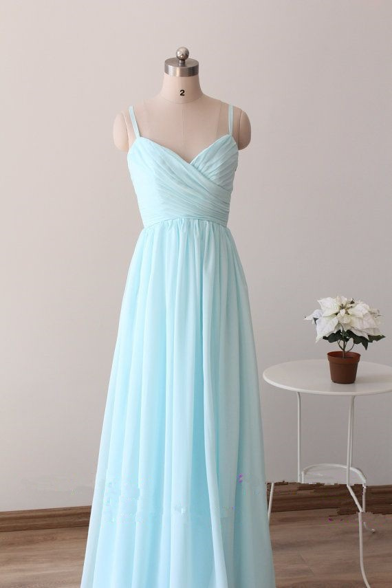 Beautiful Simple Blue Straps Long Prom Gowns Light Blue Bridesmaid Dresses 2016