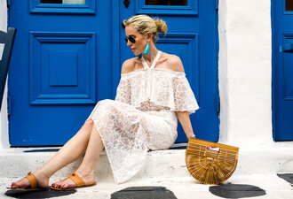 yael steren blogger dress shoes bag jewels make-up nail polish sandals cult gaia bag maxi dress white dress summer outfits