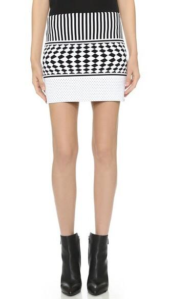skirt knit white black