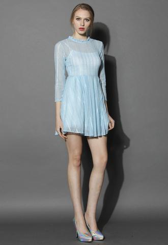 dress chicwish chicwish.com lace dress blue blue dress lace delicate