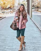 jacket,teddy bear coat,jeans,skinny jeans,knee high boots,suede boots,high heels boots,handbag,sweater,knitted sweater
