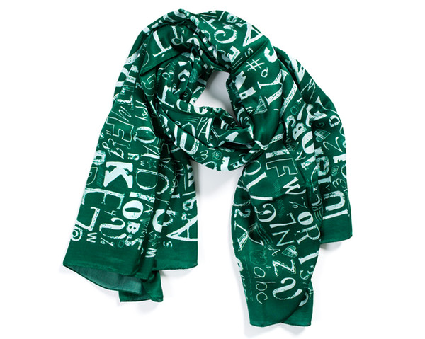 scarf scarves Accessory letters green luxury silk scarf