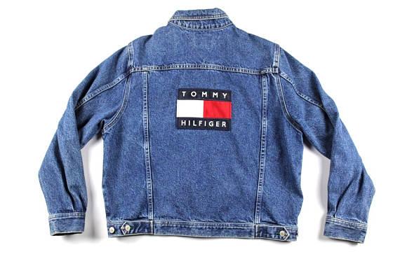 1f6c2a3cfb7df 90s Tommy Hilfiger Big Flag Logo Spell Out Denim Jean Jacket Mens Small,  Vintage Tommy Hilfiger ...