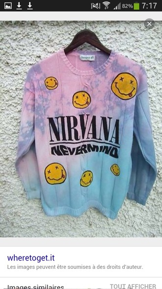 sweater nirvana pink violet pastel sweater tie dye