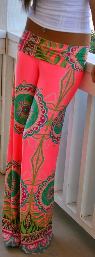 pants pink pink pants red lime sunday palazzo pants boho neon cute pants