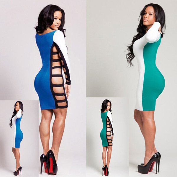 2014 New Arrival Hollow Side Sexy Bandage Woman Dresses Long Sleeve Splicing Bodycon Dress Novelty Party Dresses-in Apparel & Accessories on Aliexpress.com