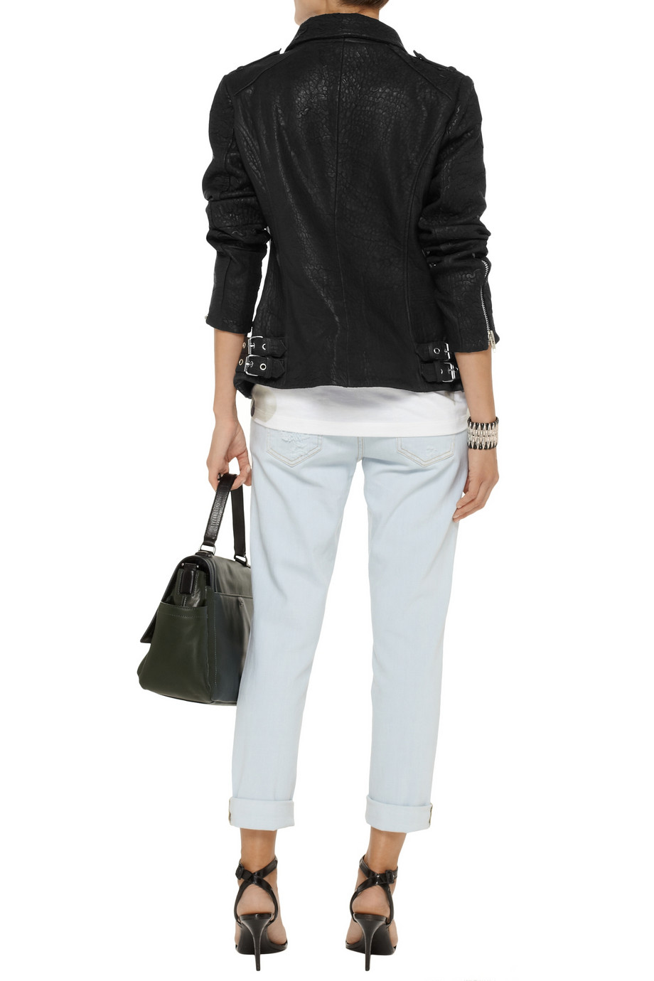 W118 by Walter Baker Aggie textured-leather biker jacket – 55% at THE OUTNET.COM