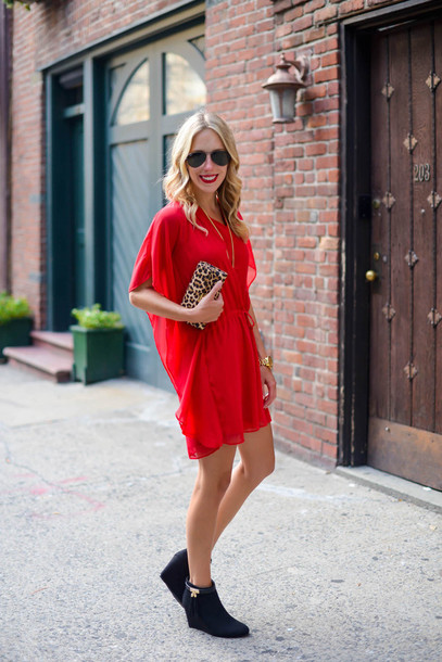 red dress leopard print shoes
