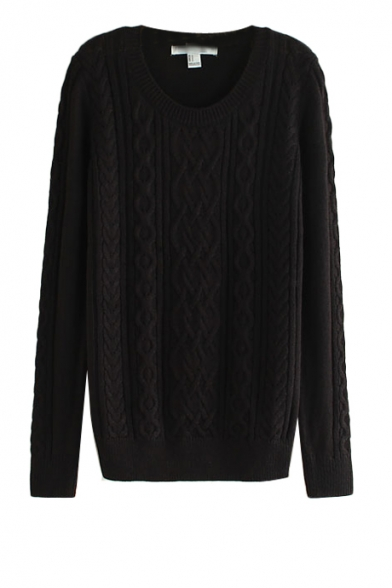 Plain cable knit black sweater with round neck