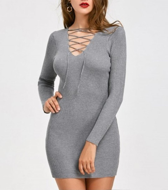 dress grey dress lace up girly grey bodycon dress bodycon long sleeves