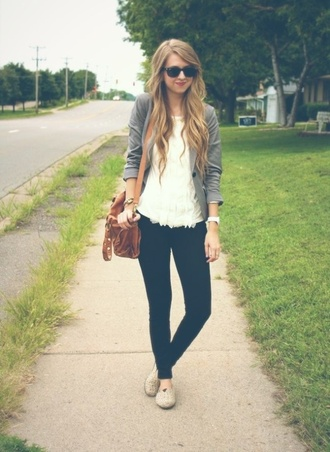 bag gray jacket toms ruffled shirt brown leather satchel sunglasses white watch watch bracelets