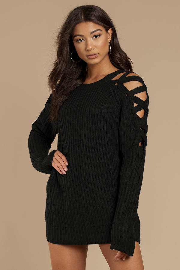 Miracle Black Lace Up Sweater