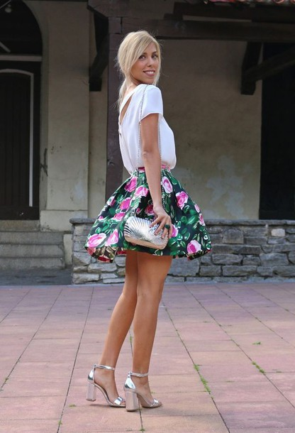 shoes  silver sandals  sandals  high heel sandals  silver high heels sandals  skirt  floral