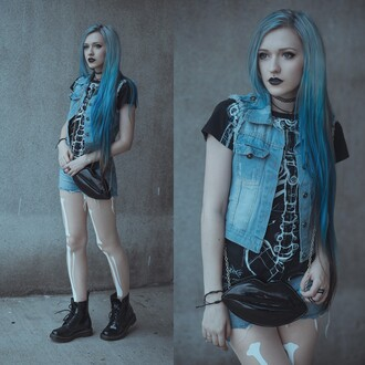 anya anti anita anti blog blogger tights denim vest skeleton bones blue hair choker necklace grunge jewelry necklace layered black black choker