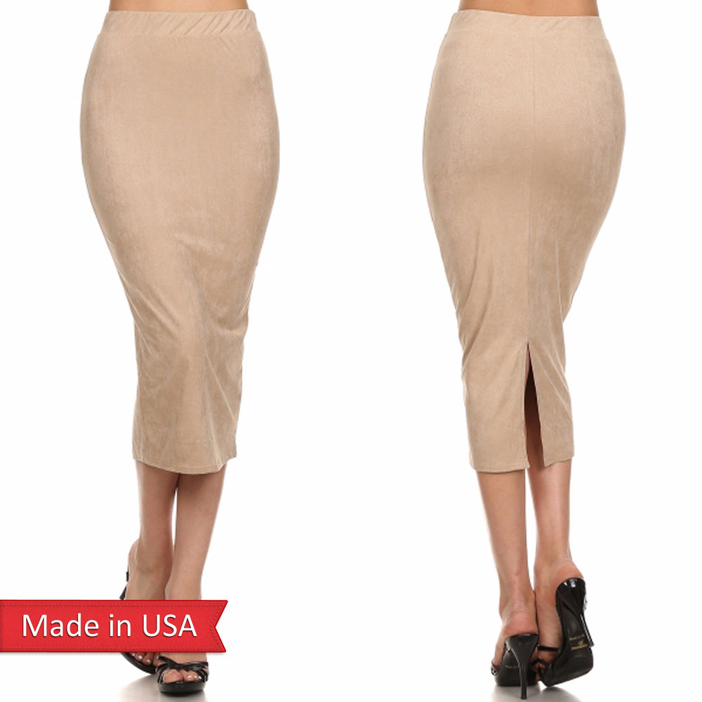 High Waist Tan Nude Color Faux Suede Leather Midi Pencil Skirt w ...