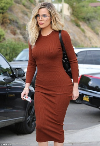 dress brown khloe kardashian