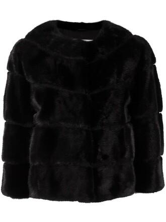 jacket fur women black silk