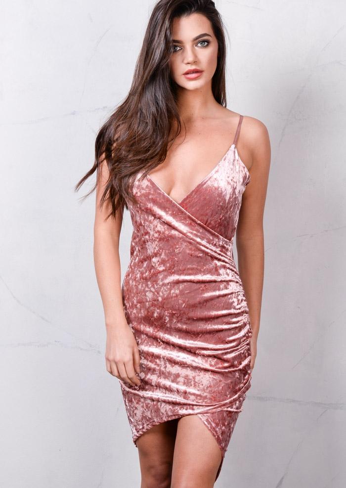 cf3ddec66103 Asymmetric Wrap Plunge V Neck Crushed Velvet Bodycon Dress Dusty Pink