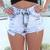 Blue Shorts - Acid Wash Distressed High Waisted | UsTrendy