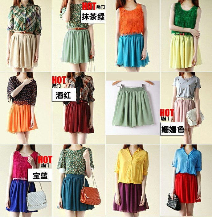 2013 Hot Sale South Korean Style Chiffon solid color 2 layers fashion Skirt Candy Colors MINI skirts-in Skirts from Apparel & Accessories on Aliexpress.com
