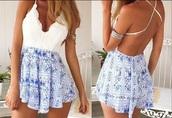 romper,dress,blue,white,cute,tumblr,girl,blue and white,crochet,knit,backless,short,v kneck,v neck,love,jumpsuit,blue dress,white dress,bohemian dress,backless dress