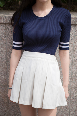 shirt sailor sailor style korean fashion blue top knitted top