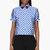 ostwald helgason blue circle pattern contrasting tip blouse