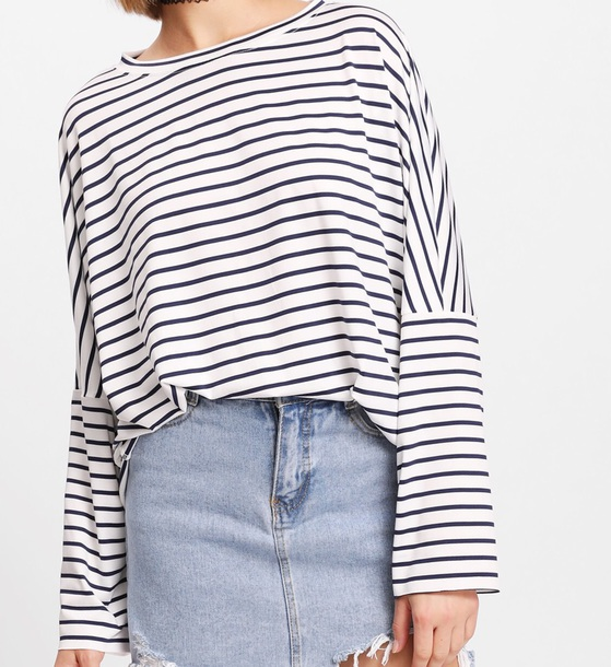 blouse girly black black and white white stripes striped top striped shirt oversized