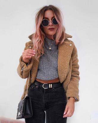 jacket fuzzy jacket nude jacket sweater grey sweater cropped sweater cropped denim jeans black jeans sunglasses