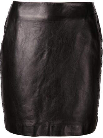 skirt embellished skirt embellished leather black