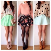 dress,top,jumper,cute,pink,coral,floral skirt,floral skater skirt,sweater,cropped jumper,shirt,jacket