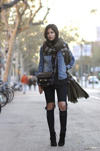 fake leather blogger scarf ripped jeans denim jacket leather bag blanket scarf black jeans