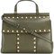 Tory burch - studded t satchel - women - leather - one size, green, leather