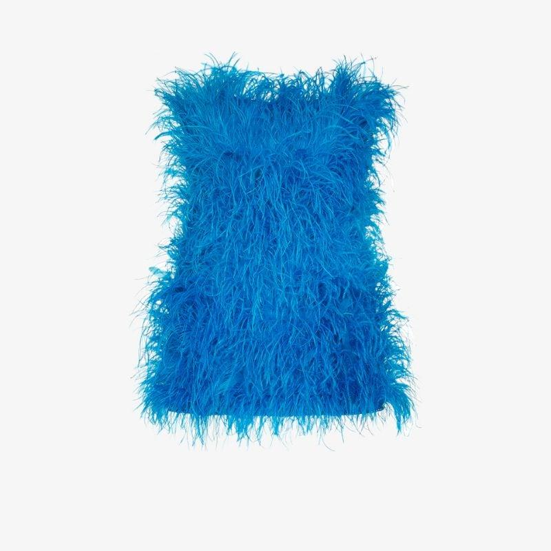 Attico Rosie ostrich feather mini dress
