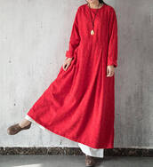 dress,long sleeves,round collar maxi dress