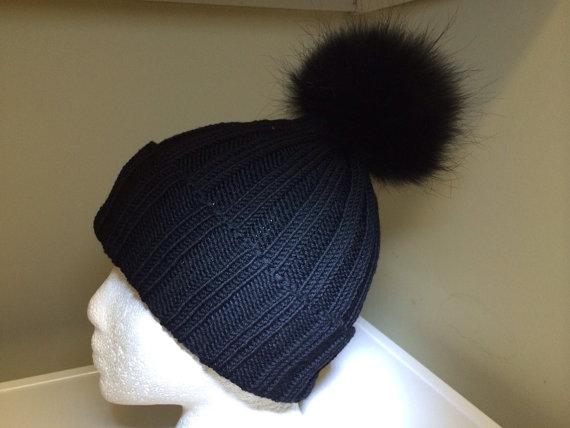 Ribbed black wool beanie hat