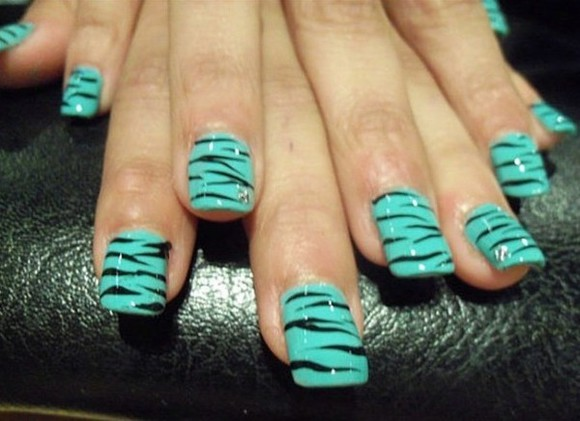 zebra nail polish nails art fake nails cute aqua print