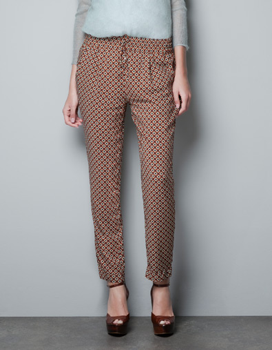 TROUSERS WITH TIE PRINT - Trousers - Woman - ZARA United States ($50-100) - Svpply
