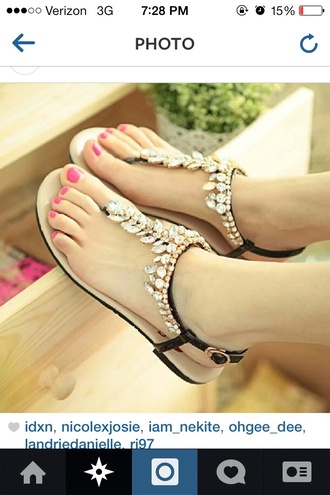 shoes black and gold sandals leafs