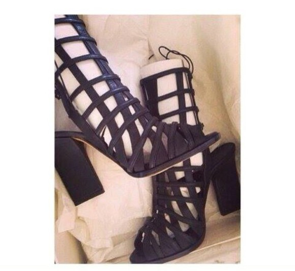 boots high heels tie up strappy