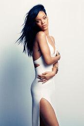 dress,white,rihanna,girl,hot,long dress