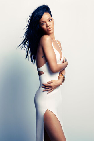dress white rihanna girl hot long dress