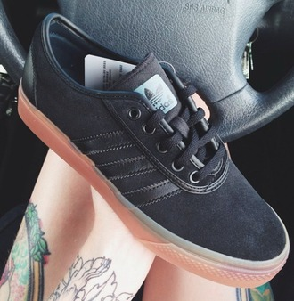 shoes adidas kimberry black stripes canvas sneakers lace rubber sole print