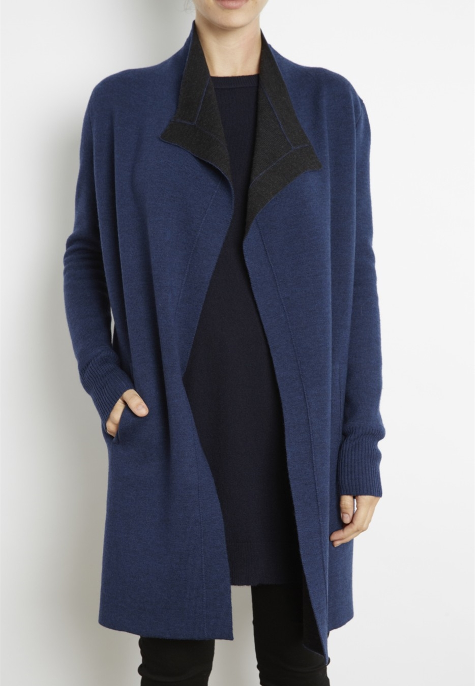 Double faced two tone wool coat